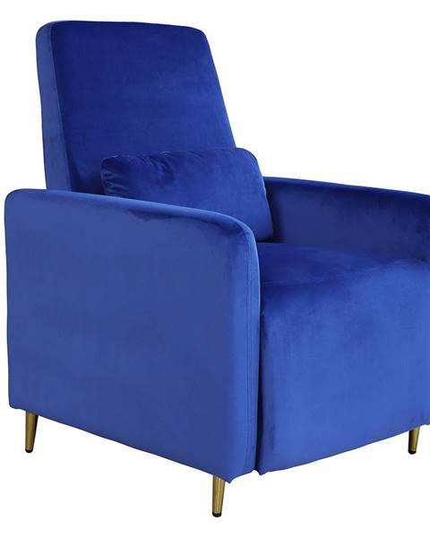 Tempo Kondela Relaxačné polohovacie kreslo modrá Velvet látka NAURO