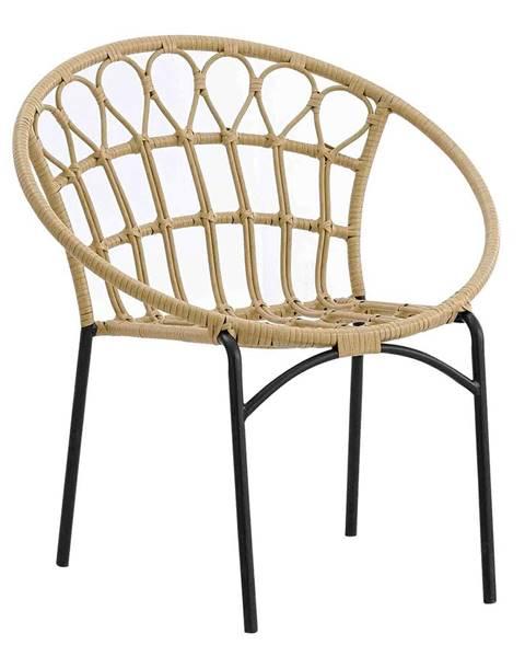 Kondela Záhradná stolička prírodná/čierna ELDIA