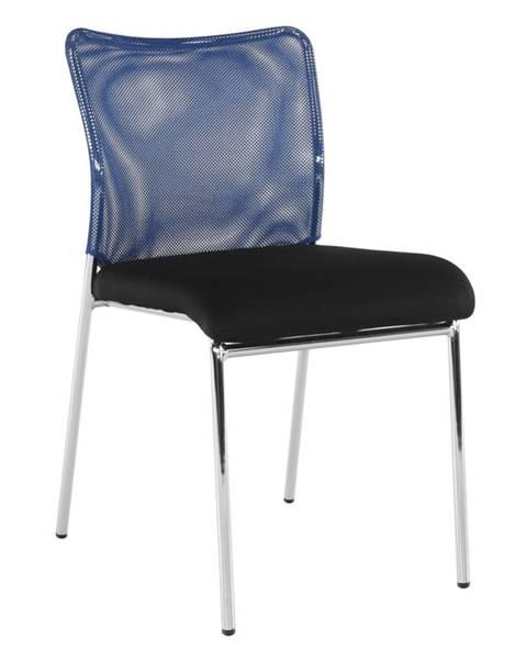 Kondela Zasadacia stolička modrá/čierna/chróm ALTAN rozbalený tovar