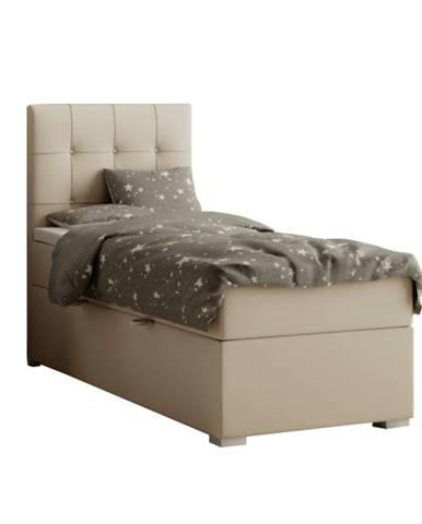 Boxspringová posteľ jednolôžko svetlohnedá 90x200 ľavá DANY