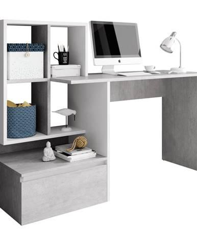 PC stôl betón/biely mat NEREO