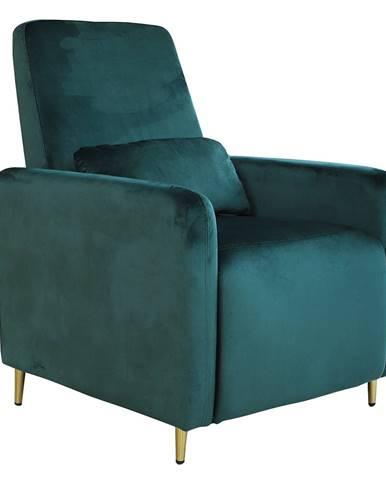 Relaxačné polohovacie kreslo smaragdová Velvet látka NAURO