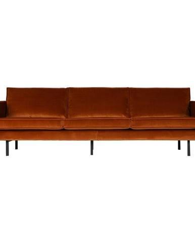 Oranžová zamatová pohovka BePureHome Rodeo, 277 cm