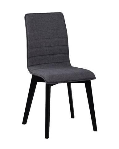 Tmavosivá jedálenská stolička s čiernymi nohami Rowico Grace