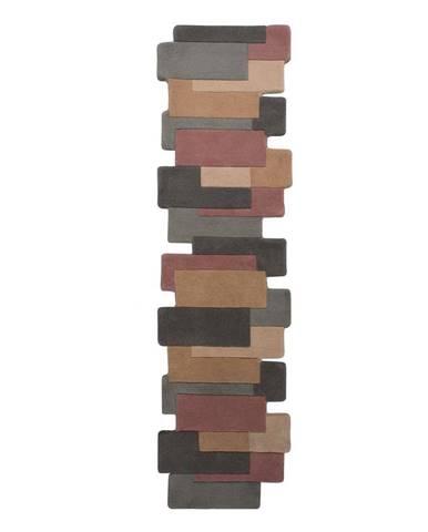 Vlnený koberec Flair Rugs Collage Earthy, 60 x 230 cm
