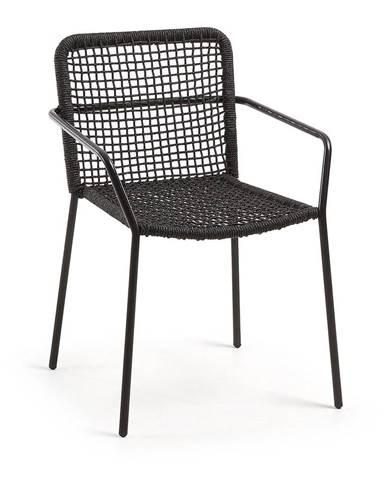 Čierne záhradné kreslo s oceľovou konštrukciou La Forma Bomer