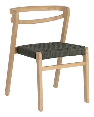 Záhradná stolička z eukalyptového dreva s tmavozeleným výpletom La Forma Ezilda