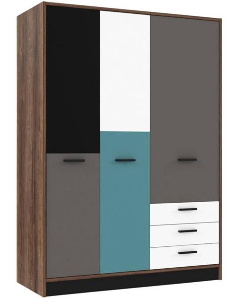 Carryhome Carryhome ŠATNÍKOVÁ SKRIŇA, sivá, zelená, čierna, biela, farby dubu, 143,8/200/60 cm - sivá, zelená, čierna, biela, farby dubu