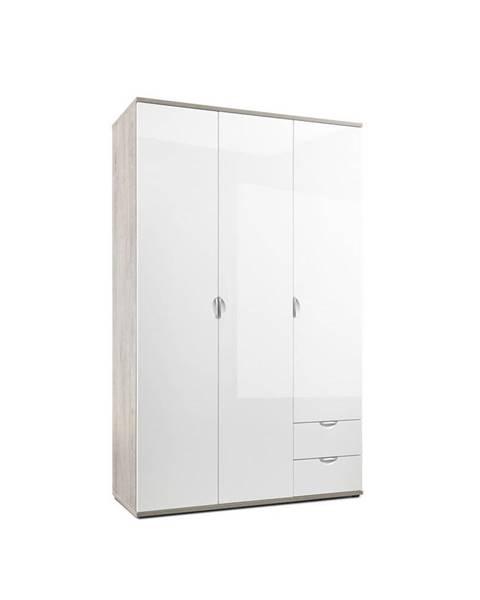 Xora Xora SKRIŇA S OTOČNÝMI DVERAMI, biela, farby dubu, 135/216,5/55 cm - biela, farby dubu