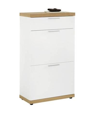 BOTNÍK, biela, farby dubu, dub, 60/106/30 cm - biela, farby dubu
