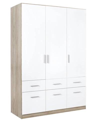 Carryhome SKRIŇA S OTOČNÝMI DVERAMI, biela, farby dubu, 136/197/54 cm - biela, farby dubu