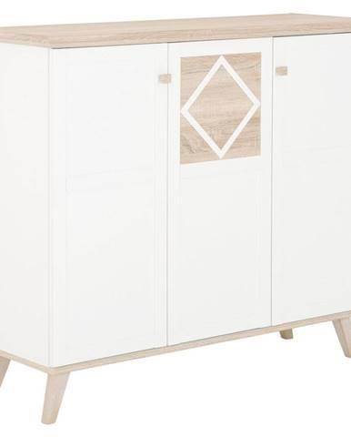 Carryhome VYSOKÁ KOMODA, biela, farby dubu, 133/113/45 cm - biela, farby dubu