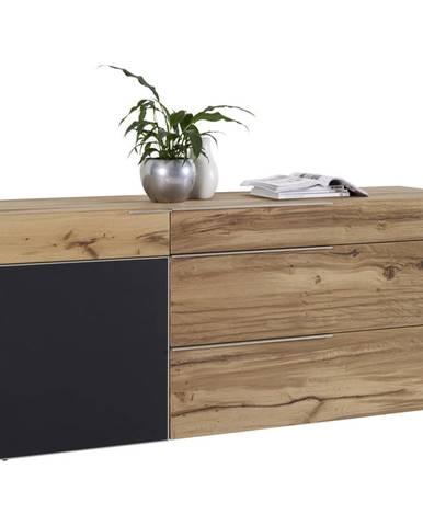 Voglauer PRÍBORNÍK/KOMODA, staré drevo, dub, antracitová, farby dubu, 192/82/51,6 cm - antracitová, farby dubu