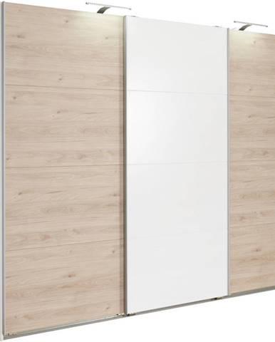 Carryhome SKRIŇA S POSUVNÝMI DVERMI, biela, farby dubu, 270/210/65 cm - biela, farby dubu
