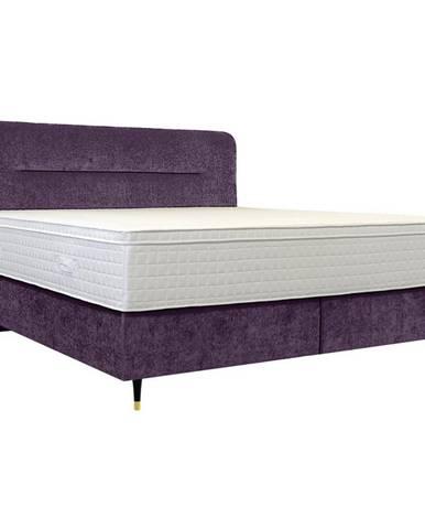 Elegando POSTEĽ BOXSPRING, 200/210 cm, drevo, textil, fialová - fialová