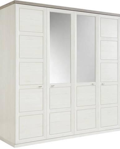 Hom`in SKRIŇA S OTOČNÝMI DVERAMI, sivá, biela, 205/209/60 cm - sivá, biela
