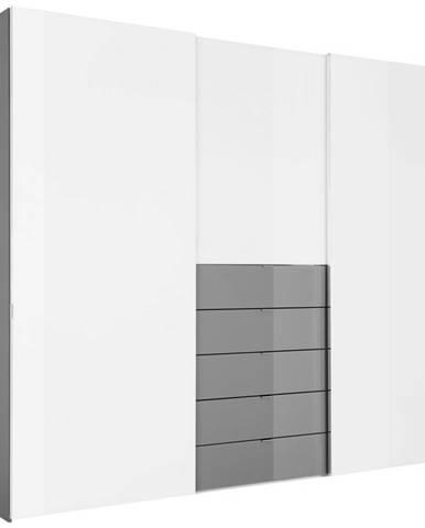 Moderano SKRIŇA S POSUVNÝMI DVERMI, sivá, biela, 298/240/68 cm - sivá, biela