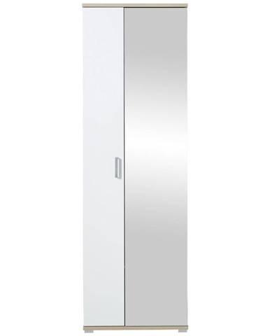 Xora ŠATNÍKOVÁ SKRIŇA, biela, farby dubu, 70/219/57 cm - biela, farby dubu