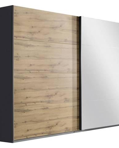 Xora SKRIŇA S POS. DVER. – HOR.VED., sivá, farby dubu, 181/210/62 cm - sivá, farby dubu