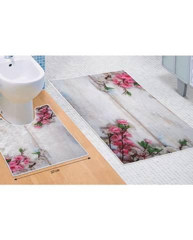 Bellatex Sada kúpeľňových predložiek Kytica fialová 3D, 60 x 100 cm, 50 x 60 cm