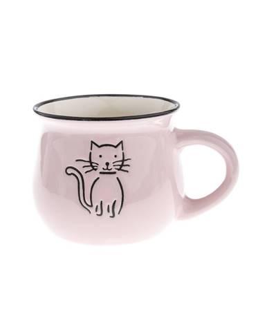 Keramický hrnček Mačka 75 ml, ružová