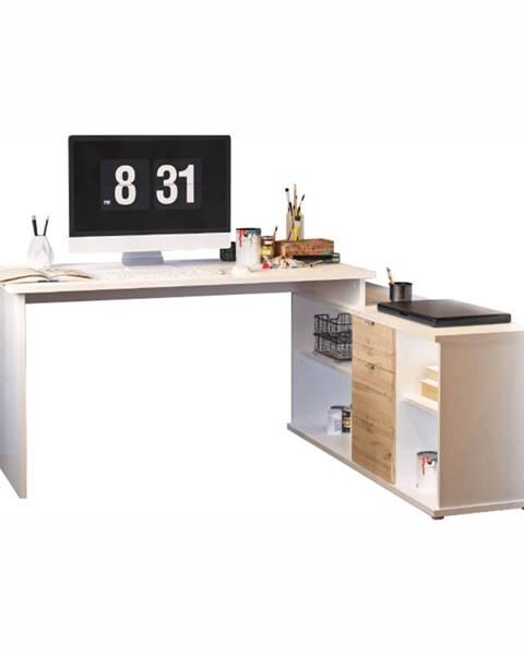 Tempo Kondela Písací stôl biela/dub wotan DALTON 2 NEW VE 02