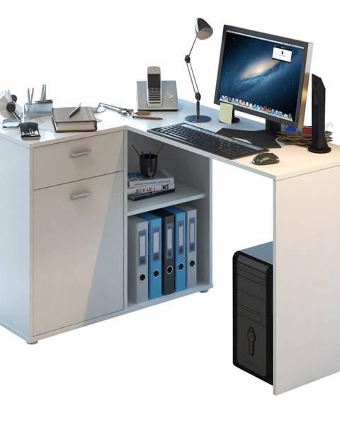 Tempo Kondela Rohový PC stôl biela KALIMERO