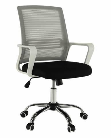 Kancelárska stolička sieťovina sivá/látka čierna/plast biely APOLO
