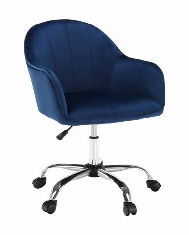 Kancelárske kreslo Velvet látka modrá/chróm EROL