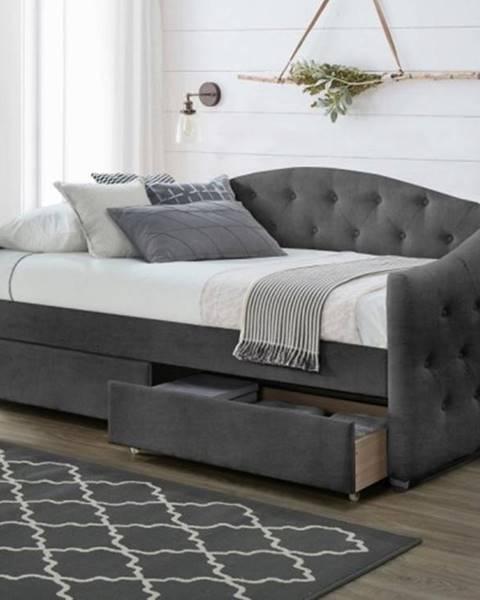 OKAY nábytok Čalúnená posteľ Belle 90x200, sivá, vrátane roštu a ÚP