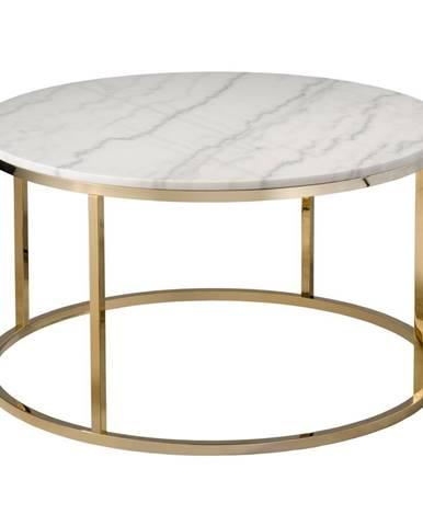Biely mramorový konferenčný stolík s podnožou v zlatej farbe RGE Accent, ⌀ 85 cm