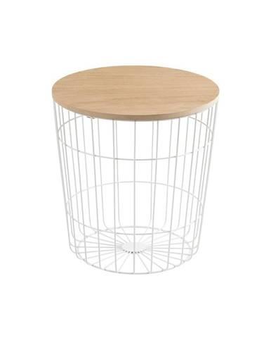 Biely odkladací stolík Actona Lotus Light, ø39 cm