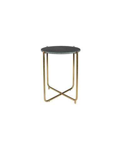 Zelený odkladací stolík s mramorovou doskou White Label Timpa