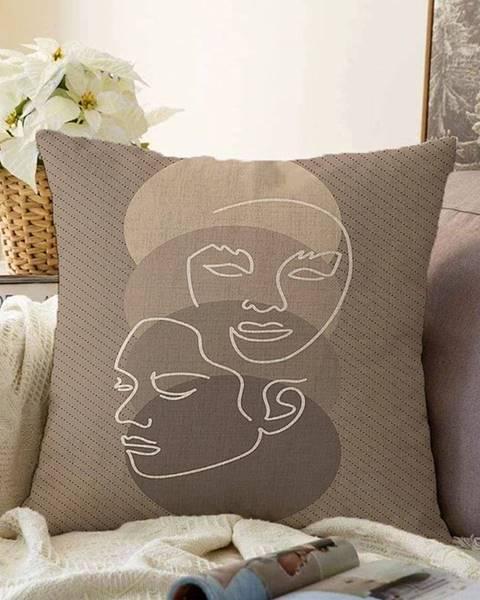 Minimalist Cushion Covers Hnedá obliečka na vankúš s prímesou bavlny Minimalist Cushion Covers Chenille, 55 x 55 cm