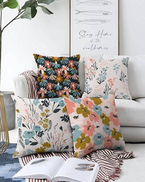 Minimalist Cushion Covers Súprava 4 obliečok na vankúše Minimalist Cushion Covers Blooming, 55 x 55 cm