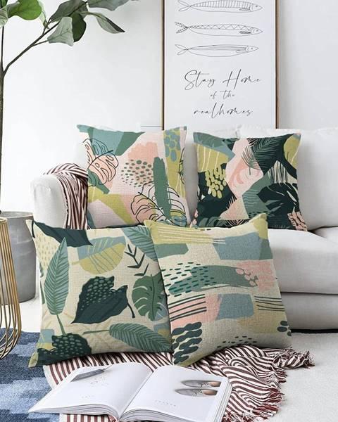 Minimalist Cushion Covers Súprava 4 obliečok na vankúše Minimalist Cushion Covers Leaves, 55 x 55 cm