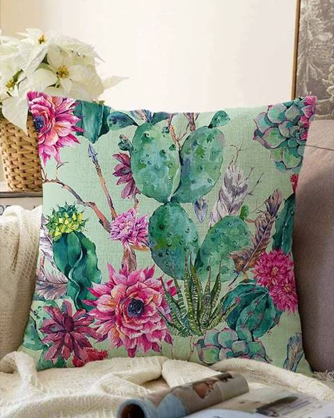 Minimalist Cushion Covers Zelená obliečka na vankúš s prímesou bavlny Minimalist Cushion Covers Cactus, 55 x 55 cm