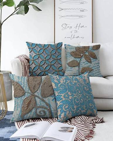 Súprava 4 obliečok na vankúše Minimalist Cushion Covers Chenille, 55 x 55 cm