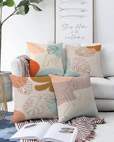 Súprava 4 obliečok na vankúše Minimalist Cushion Covers Feminine, 55 x 55 cm