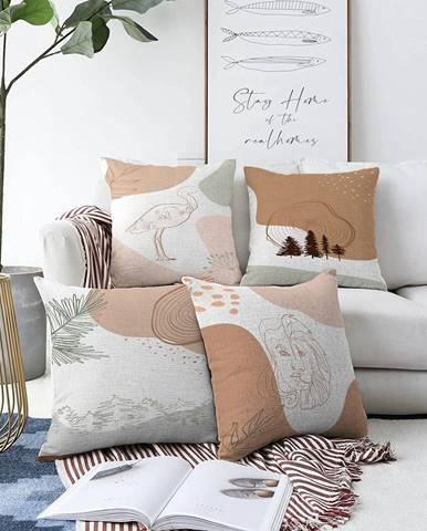 Súprava 4 obliečok na vankúše Minimalist Cushion Covers Flamingo, 55 x 55 cm