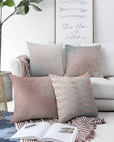 Súprava 4 obliečok na vankúše Minimalist Cushion Covers Glitters, 55 x 55 cm