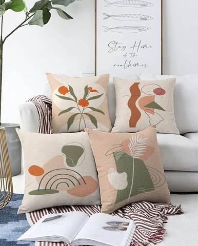 Súprava 4 obliečok na vankúše Minimalist Cushion Covers Rainbow, 55 x 55 cm