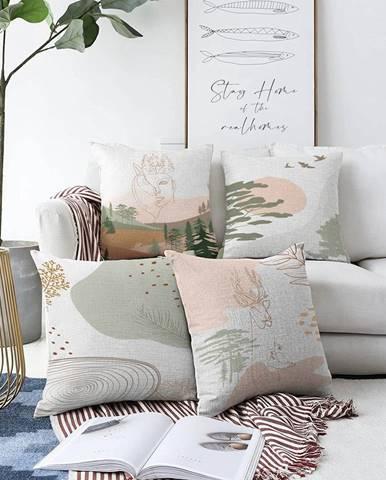 Súprava 4 obliečok na vankúše Minimalist Cushion Covers Scenery, 55 x 55 cm