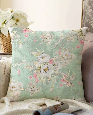 Zelená obliečka na vankúš s prímesou bavlny Minimalist Cushion Covers Blossom, 55 x 55 cm