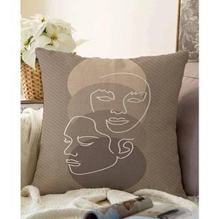 Hnedá obliečka na vankúš s prímesou bavlny Minimalist Cushion Covers Chenille, 55 x 55 cm