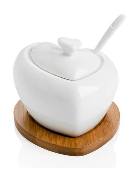 Brandani Porcelánová cukornička s lyžičkou a bambusovou podložkou Brandani Heart