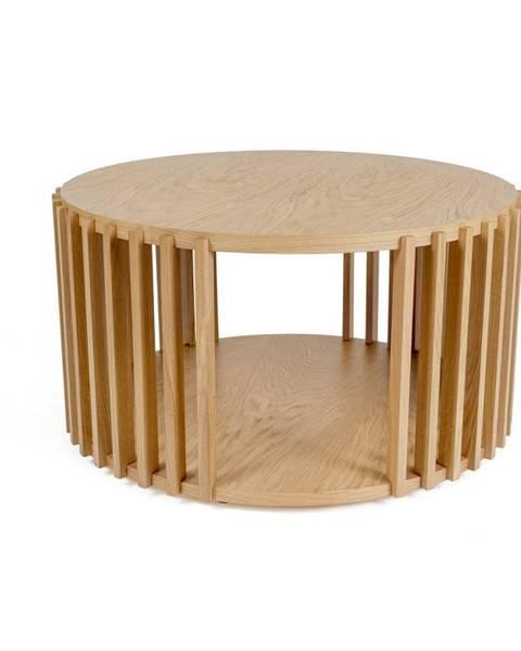 Woodman Odkladací stolík z dubového dreva Woodman Drum, ø 83 cm