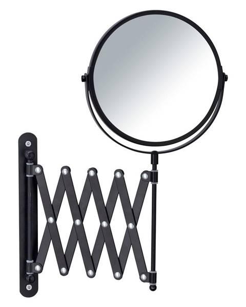 Wenko Čierne nástenné kozmetické zrkadlo s teleskopickým držiakom Wenko Exclusive