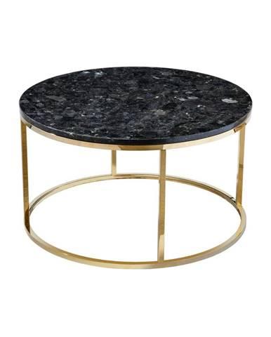 Čierny žulový konferenčný stolík s podnožím v zlatej farbe RGE Crystal, ⌀ 85 cm