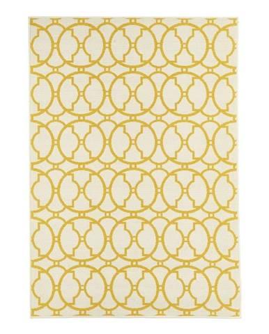 Béžovo-žltý vonkajší koberec Floorita Interlaced, 133 x 190 cm